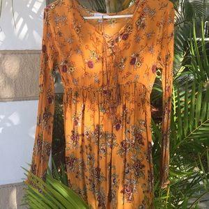 Patrons of peace floral long sleeve mini dress